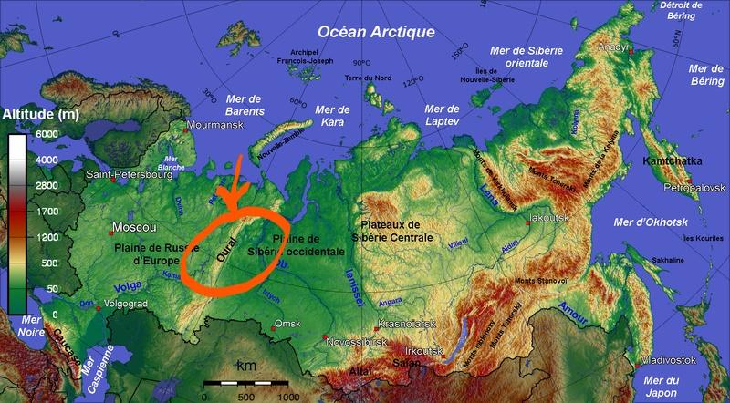 carte de la Russie et situation de l'Oural