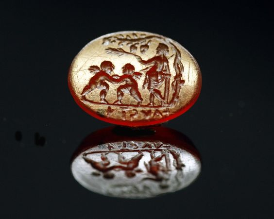intaille romaine - Aphrodite et Erote - cornaline - Fabian de Montjoye