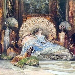 Sarah Bernhard jouant Théodora par Georges Jules Victor Clairin  - 1902