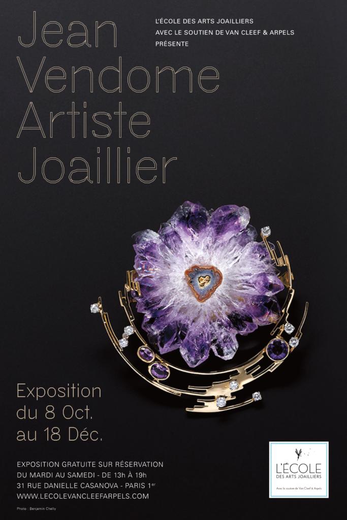 affiche de l'exposition Jean Vendome, artiste joaillier à L'Ecole des Arts joailliers
