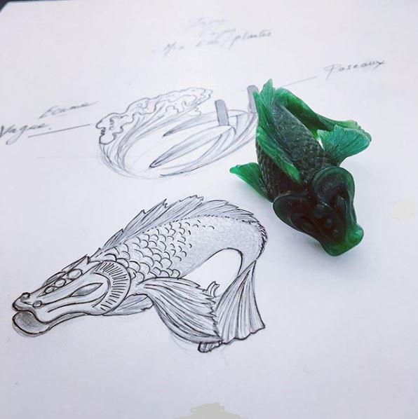 Thierry Rozet dessin et cire d'une carpe Koi