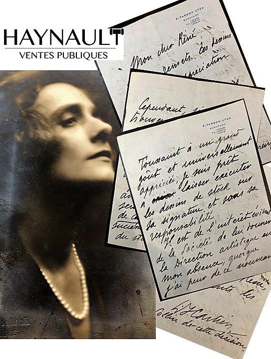 Lettres de Louis Cartier qui nomme Jeanne Toussaint à la direction artistique - Vente Haynault
