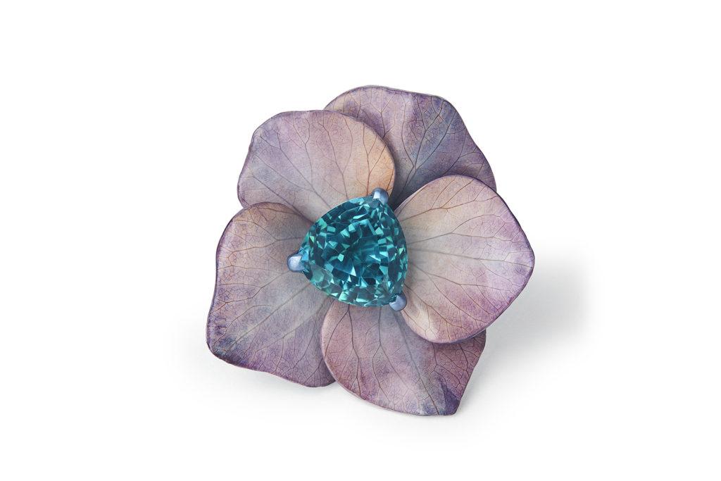 Hortensia Violet Bleu - saphir indigolite troïda - 8,7 carats - Boucheron