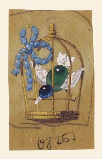 Cartier - oiseau en cage - gouaché