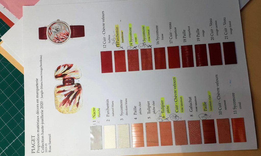 choix de matières de Rose Saneuil pour Piaget