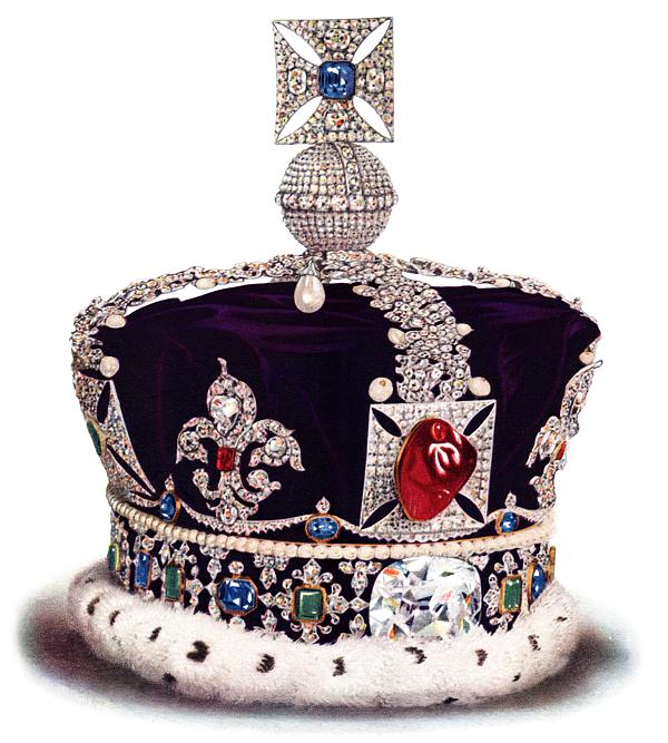 """Couronne impériale Britannique avec le"""" rubis"""" du Prince Noir"""