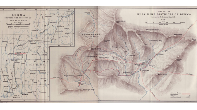 Map taken from the Proceedings of the Royal Geographical Society 1888, showing the area of the Mogok Stone Tract.